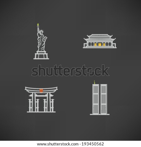Most famous Architecture Landmarks Around the World - Statue of Liberty (USA), Forbidden City (China), Torii Gate (Japan), Twin Towers (USA),   - stock vector