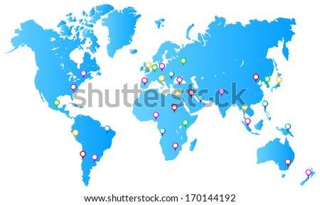 Most Important City Capitals Map Pins On World Map - stock vector
