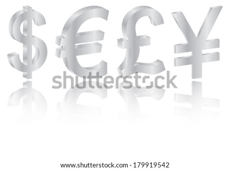 Most Important World Silver Currencies Set With Reflection On White - stock vector