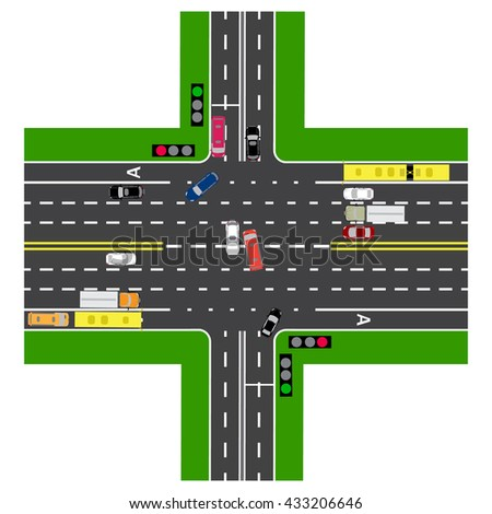 Most of the highway intersection with the road. With the cars and traffic lights. Green signal for the non-principal roads.Road maps and public transport. Top view of the highway. Vector illustration
