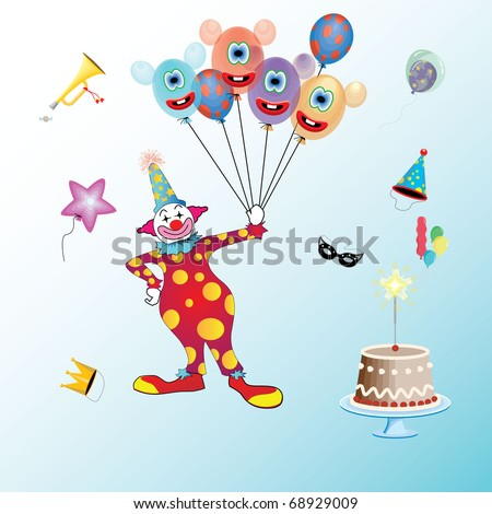 most popular clown holding balloons isolated  with party items all around him