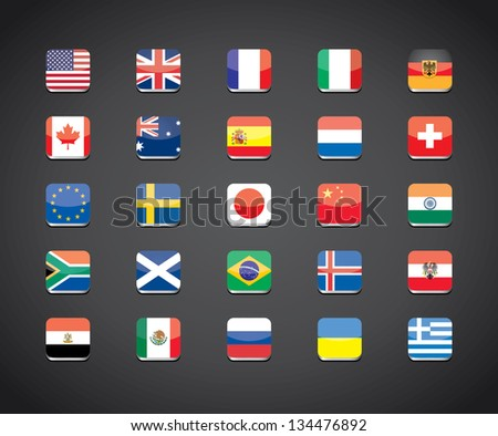 most popular countries flags vector apps icons - stock vector
