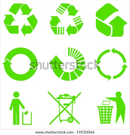 Most used recycle signs vector - stock vector