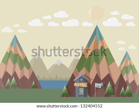 Motel at the end of the world in place with beautiful nature landscape - mountains, lake, trees, clouds and sun. 3D style illustration.