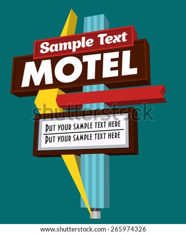 motel sign - stock vector