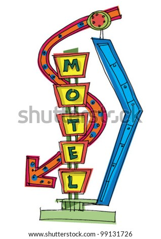 motel sign - cartoon - stock vector
