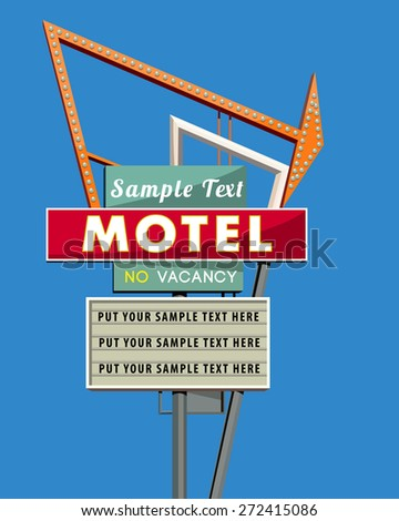 motel sign scetch - stock vector