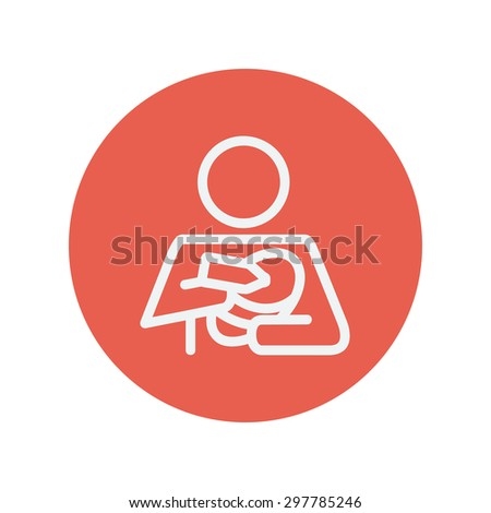 Mother and baby breastfeeding thin line icon for web and mobile minimalistic flat design. Vector white icon inside the red circle - stock vector