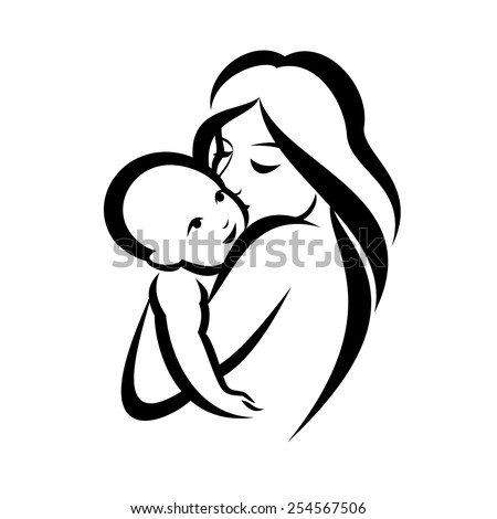 mother and baby stylized vector symbol - stock vector