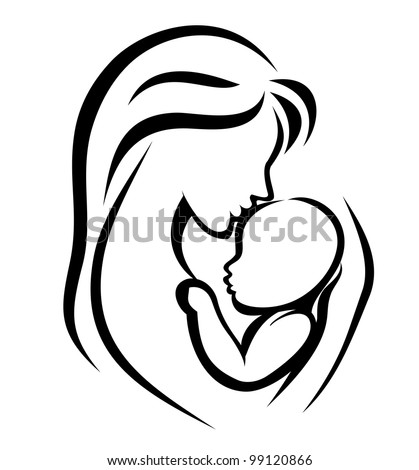 mother and baby symbol, hand drawn silhouette - stock vector