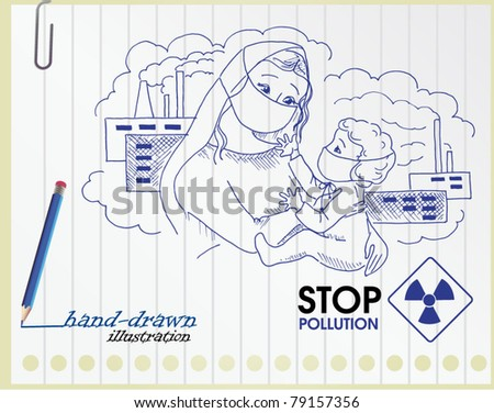 mother and child against industrial and nuclear waste - hand-drawn illustration - stock vector