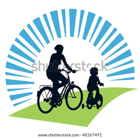 Mother and child cycling on a summer trip. - stock vector