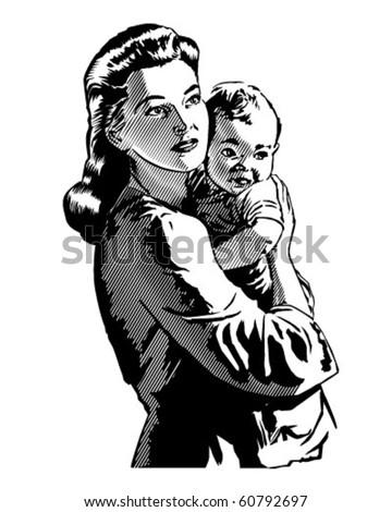 Mother Child Retro Clip Art Stock Vector 60792697 - Shutterstock