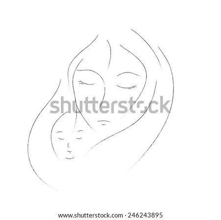 mother and child simple drawing on white background woman and kid face by simple line - Simple Drawing For Kid