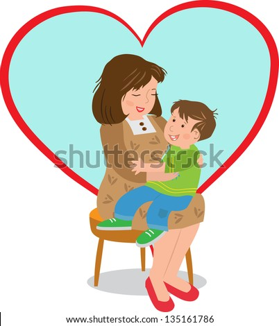 Mother and Child - Vector illustration of a boy sitting on his mother's lap and a big heart shape in the background. Eps10 - stock vector