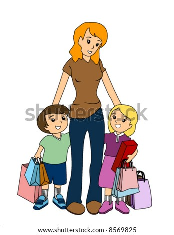 Mother and Children Shopping - Vector