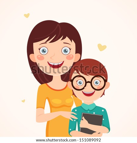 Mother and clever son. Happy family - stock vector