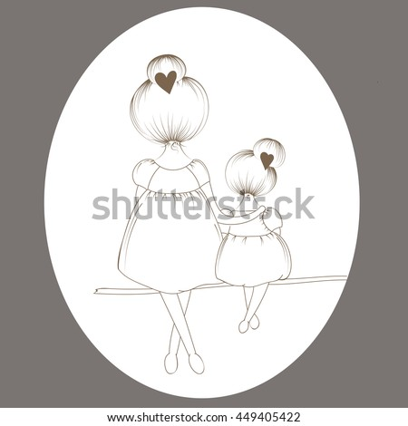 mother and daughter are sitting on a branch of the tree
