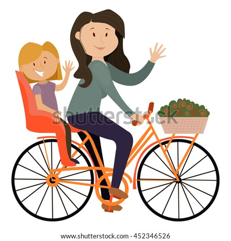 mother and daughter on a bicycle , family, vector - stock vector
