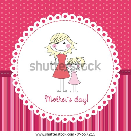 mother and daughter over cute background, hand drawing. vector