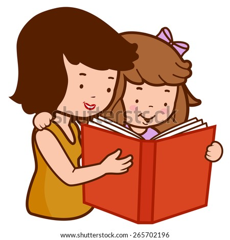 Mother and daughter reading a book. Vector Illustration of a mother reading a book to her little girl.  - stock vector