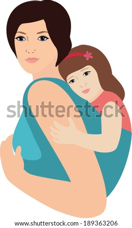 mother and daughter with sling - stock vector
