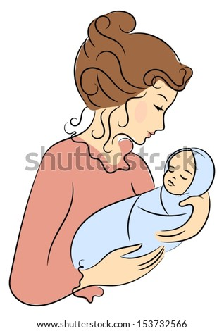 Mother and her baby  - stock vector