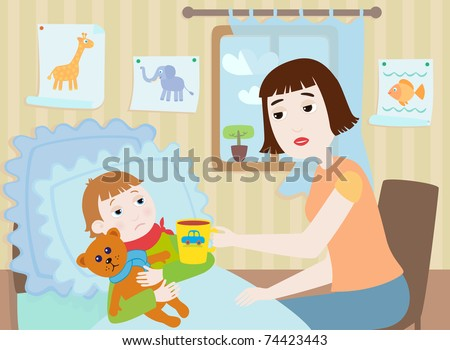 Mother and sick boy - stock vector