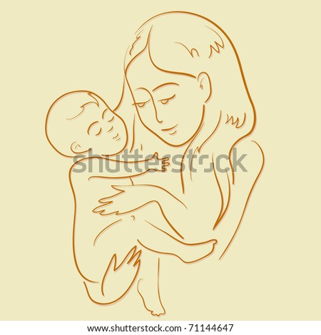 Mother and son - stock vector