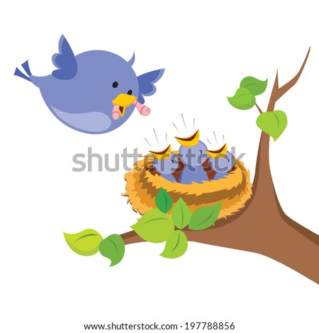 Mother bird love. Mother bird feeds the worm to her baby birds in the nest on the tree. - stock vector