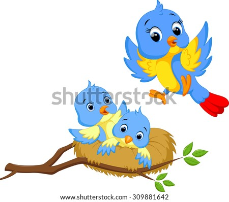 Mother bird with two cubs - stock vector