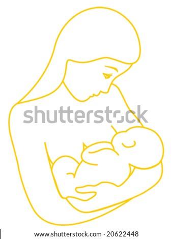 Mother breastfeeding her baby - stock vector