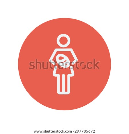Mother breastfeeding her baby thin line icon for web and mobile minimalistic flat design. Vector white icon inside the red circle - stock vector