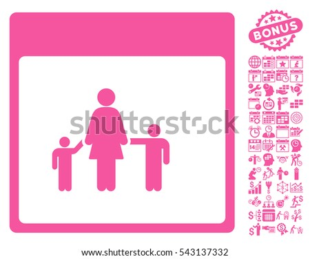 Mother Calendar Page icon with bonus calendar and time management pictures. Vector illustration style is flat iconic symbols, pink, white background.