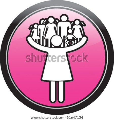 Mother care family - stock vector