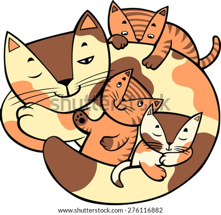 Mother cat is laying and little kittens around. Vector illustration. - stock vector