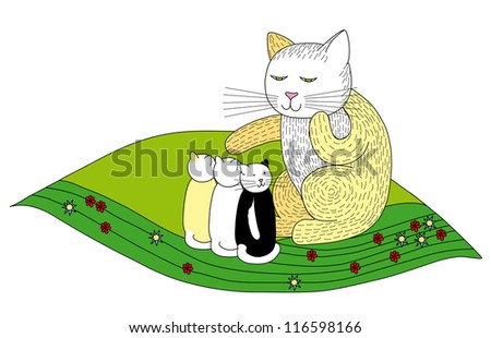 Mother Cat with Three Beautiful Kittens Sitting on Grass with Flowers - Vector Illustration - stock vector