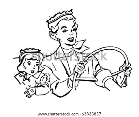 Mother Driving With Daughter - Retro Clipart Illustration - stock vector