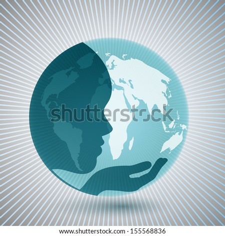 Mother earth concept face and hand superimposed over globe  - stock vector