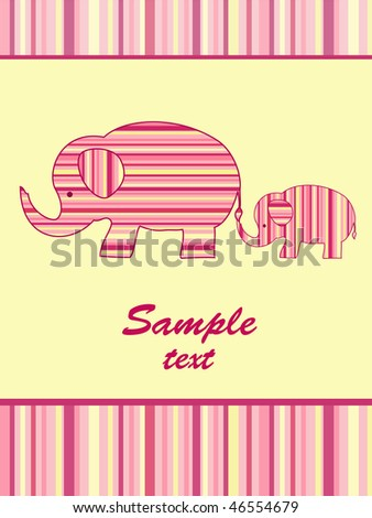 Mother elephant and baby elephant. Vector illustration. - stock vector