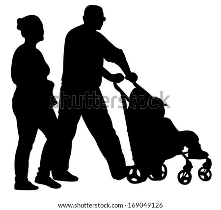 mother, father, son walking, silhouette vector