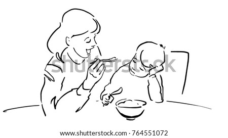 mother feeds her kid black and white vector sketch simple drawing - Simple Drawing For Kid