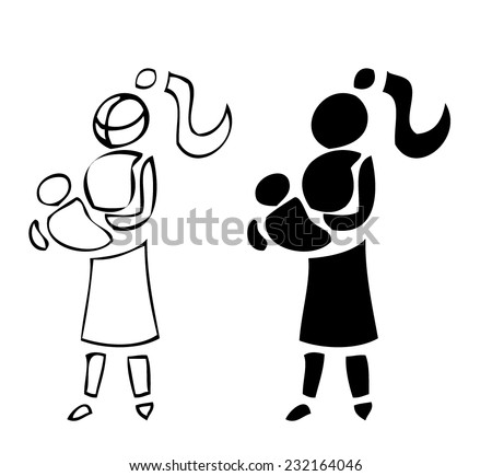 Mother holding a Baby, Simple Outline and Silhouette versions, each available on separated Layers, Vector Illustration isolated on White Background.  - stock vector