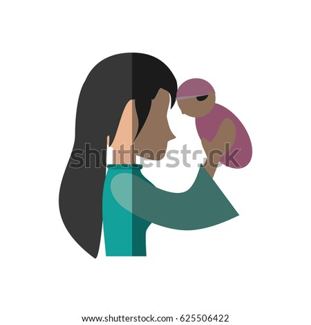 mother holding baby image shadow