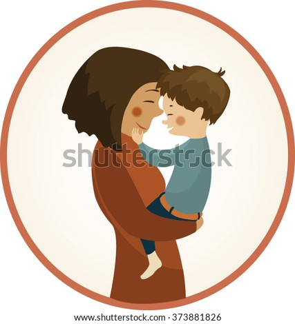 Mother holding her child, vector illustration, cartoon - stock vector