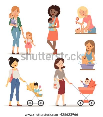 Mother holding her cute little girl park and young mother happy parent. Young mother vector set and young mother cute daughter. Togetherness newborn face young mother lifestyle cheerful motherhood. - stock vector