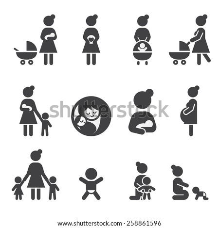 mother icon set - stock vector