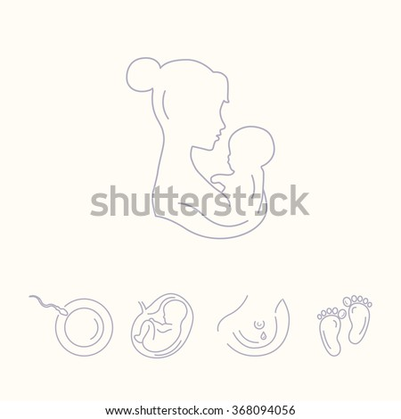 Mother is holding baby. Woman with a baby. Pregnancy and childbirth, gynecology. Breastfeeding. Health medical and care child. Motherhood. Vector thin line icons. - stock vector