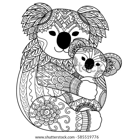 mother koala cuddling her baby for t shirt designtattoo and adult coloring