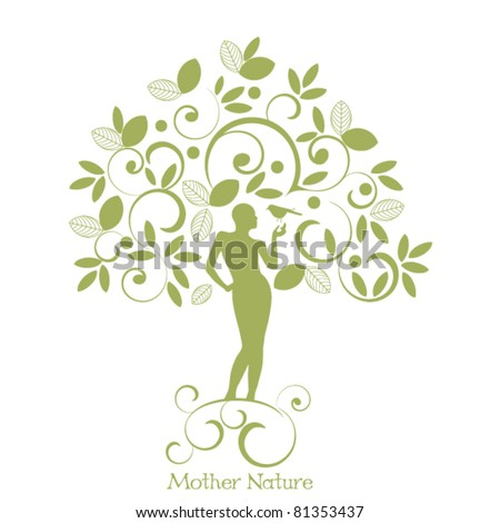 mother nature - female tree trunk  holding bird - stock vector